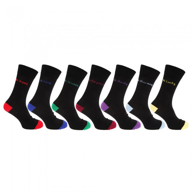 Front - Mens Cotton Rich Mood Casual Socks (Pack Of 7)