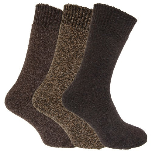 Front - Mens Wool Blend Fully Cushioned Thermal Boot Socks (Pack Of 3)
