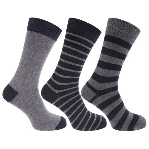 Front - Mens Cotton Rich Striped Ankle Socks (Pack Of 3)