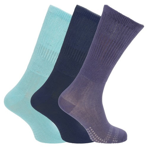 Front - Womens/Ladies Bamboo Non-Binding Extra Wide Diabetic Socks (3 Pairs)