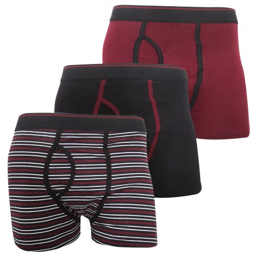 Front - FLOSO Mens Cotton Mix Key Hole Trunks Underwear (Pack Of 3)