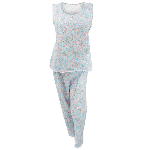 Front - Womens/Ladies Paisley Pattern Cotton Nightwear Sleeveless Top And Trousers Pyjamas