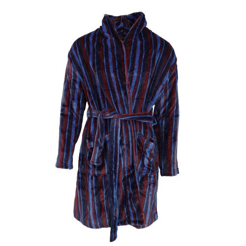 Front - Pierre Roche Mens Super Soft Stripe Design Dressing Gown/Robe