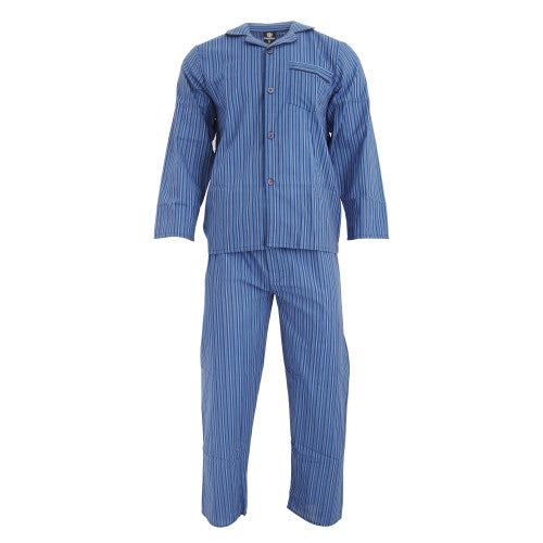 Front - Cargo Bay Mens Woven Striped Pyjama Set
