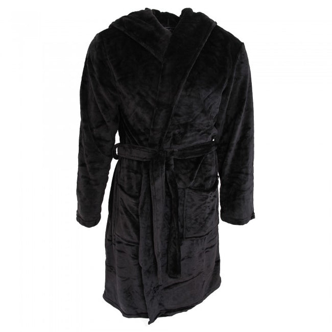 Front - Pierre Roche Mens Soft Touch Hooded Dressing Gown