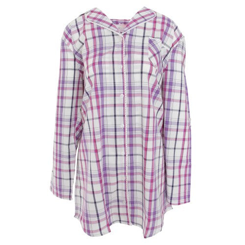 Front - Cottonique Womens/Ladies Woven Night Shirt