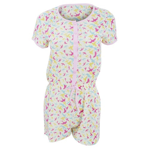 Front - Womens/Ladies Short Sleeve Swallow Pattern Pyjama Playsuit