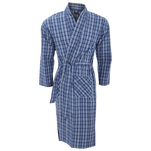 Front - Mens Lightweight Patterned Kimono Robe