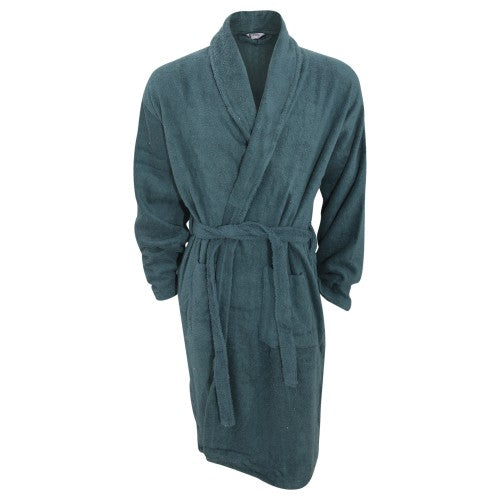 Front - Mens Plain Cotton Towelling Robe/Dressing Gown