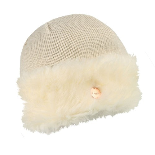 Front - Regatta Womens/Ladies Luz Faux Fur Trim Cotton Jersey Winter Beanie Hat