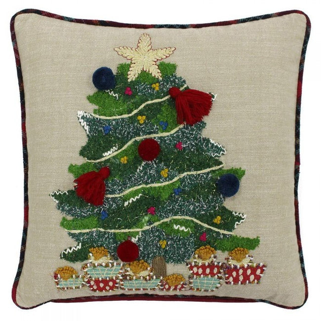 Front - Riva Paoletti Artisan Christmas Tree Cushion Cover