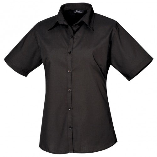 Front - Premier Short Sleeve Poplin Blouse / Plain Work Shirt