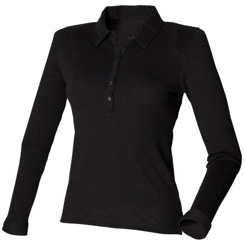 Front - Skinni Fit Ladies/Womens Long Sleeve Stretch Polo Shirt