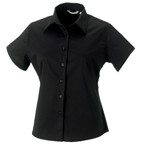 Front - Russell Collection Womens/Ladies Short Sleeve Classic Twill Shirt