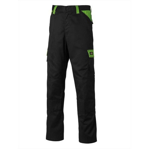 Black-Lime - Front - Dickies Mens Everyday Durable Cargo Pocket Work Trousers