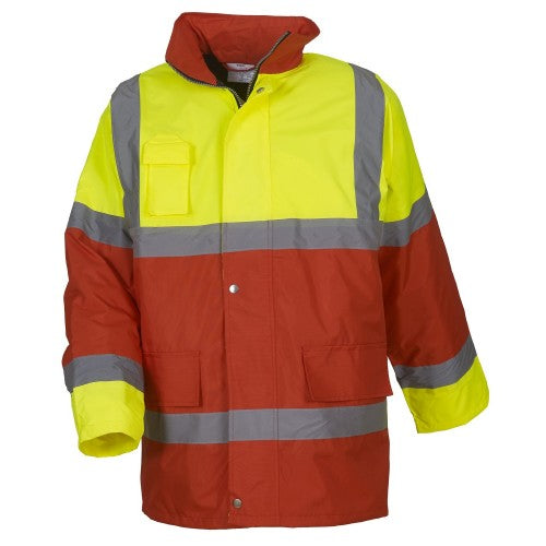 Front - Yoko Mens Hi Vis Contrast Safety Jacket