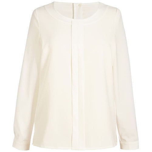 Front - Brook Taverner Womens/Ladies Riola Crepe De Chine Long Sleeved Blouse