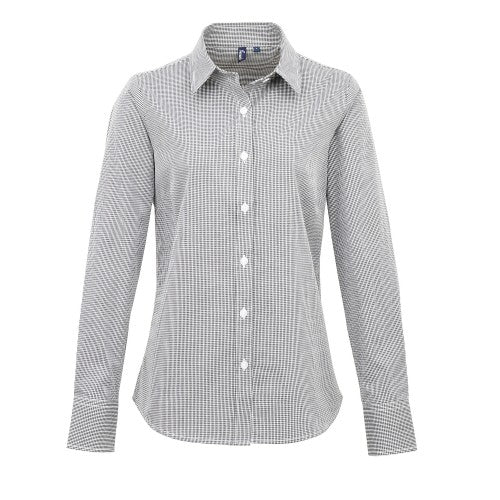 Front - Premier Womens/Ladies Microcheck Long Sleeve Shirt