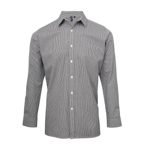 Front - Premier Mens Microcheck Long Sleeve Shirt