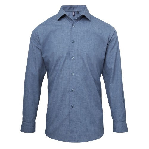 Front - Premier Mens Poplin Cross-Dye Roll Sleeve Shirt