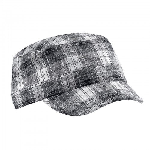 Front - Beechfield Unisex Plaid Cadet Army Cap (Pack of 2)