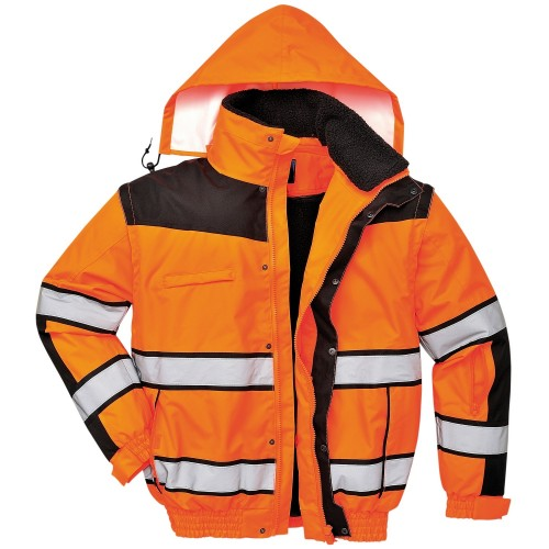 Front - Portwest Mens High Visibility Classic All Weather Bomber Jacket (Pack of 2)