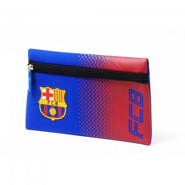 Front - FC Barcelona Official Football Crest Design Fade Flat Pencil Case