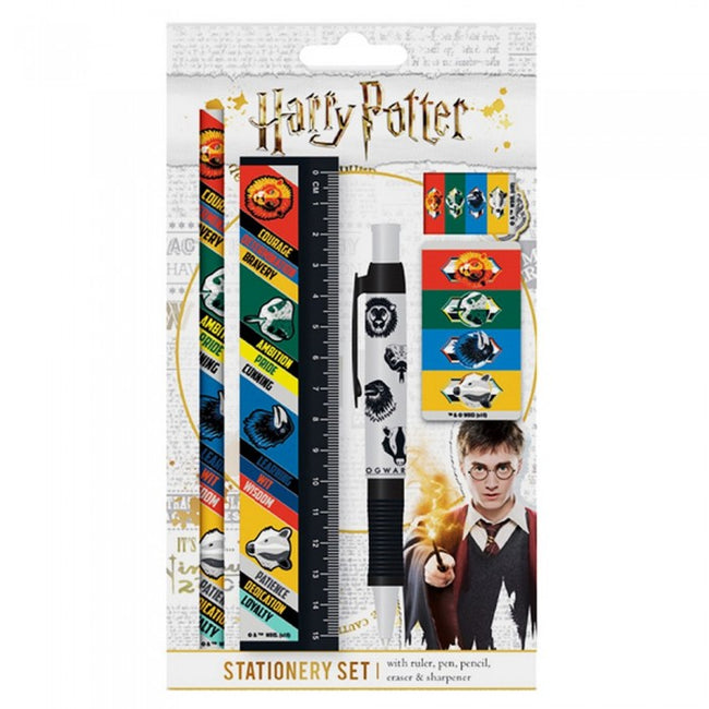 Front - Harry Potter Hogwarts Houses 5 Piece Stationery Set