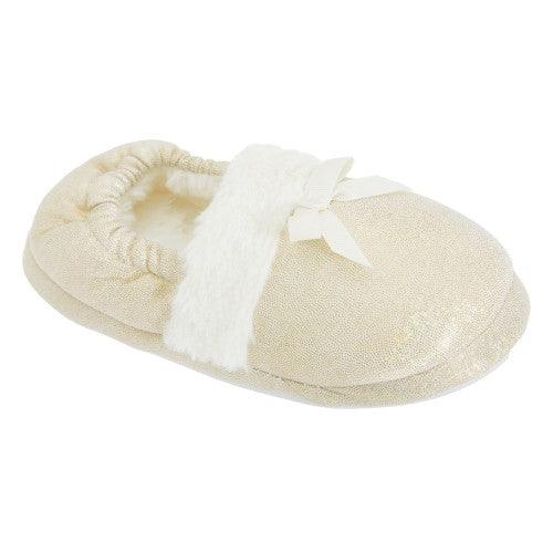 Front - Childrens Girls Faux Fur Trim Glitter Sparkle Slippers