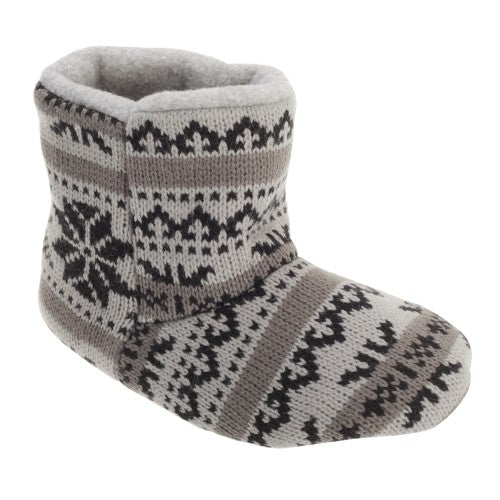 Front - Slumberzzz Boys Fair Isle Pattern Slipper Boots