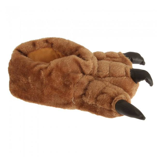 Front - Mens Plush Monster Paw Novelty Slippers