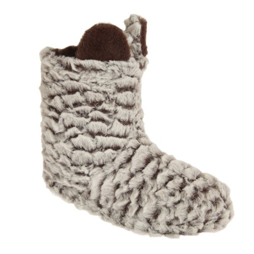 Front - Womens/Ladies Plush Striped Boot Slippers With Animal Ears