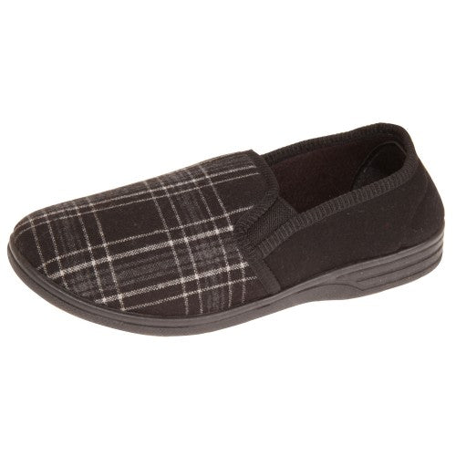 Front - Slumberzzz Mens Elasticated Tartan Slip-on Slippers