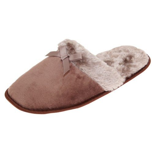 Front - Slumberzzz Womens/Ladies Faux-Fur Bow Slider Slippers