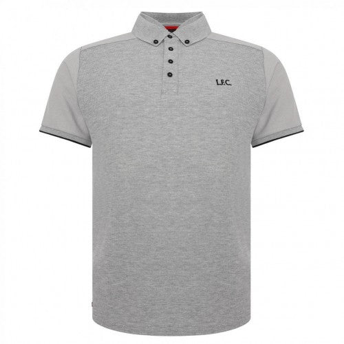 Front - Liverpool FC Waffle Mens Grey Polo Shirt