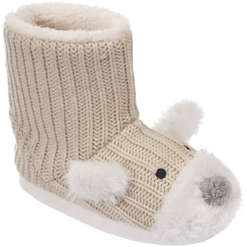 Front - Trespass Childrens Girls Sootie Teddy Bear Slipper Boots