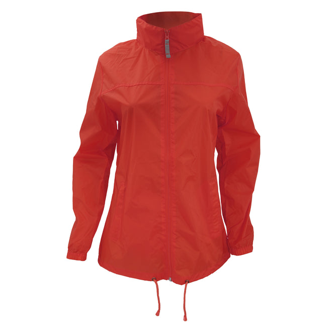 Red - Side - B&C Womens-Ladies Sirocco Lightweight Windproof, Showerproof & Water Repellent Jacket