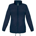 Navy Blue - Front - B&C Womens-Ladies Sirocco Lightweight Windproof, Showerproof & Water Repellent Jacket