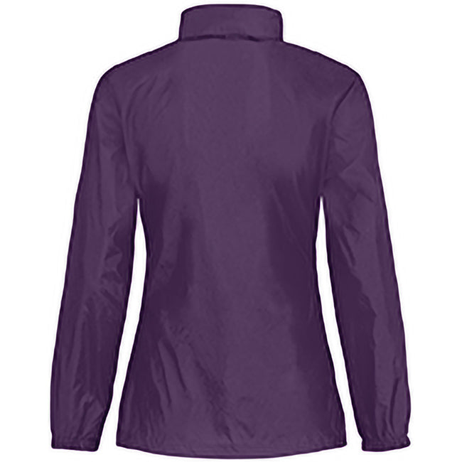 Purple - Back - B&C Womens-Ladies Sirocco Lightweight Windproof, Showerproof & Water Repellent Jacket