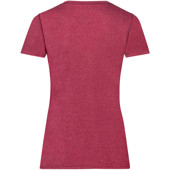 Vintage Heather Red - Back - Fruit Of The Loom Ladies-Womens Lady-Fit Valueweight Short Sleeve T-Shirt