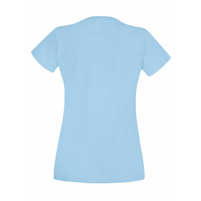 Sky Blue - Back - Fruit Of The Loom Ladies-Womens Lady-Fit Valueweight Short Sleeve T-Shirt