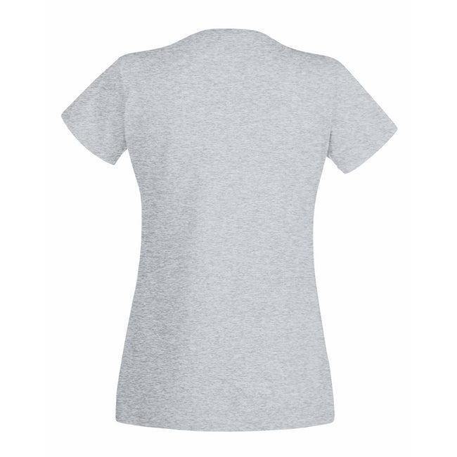 Heather Grey - Back - Fruit Of The Loom Ladies Lady-Fit Valueweight V-Neck Short Sleeve T-Shirt