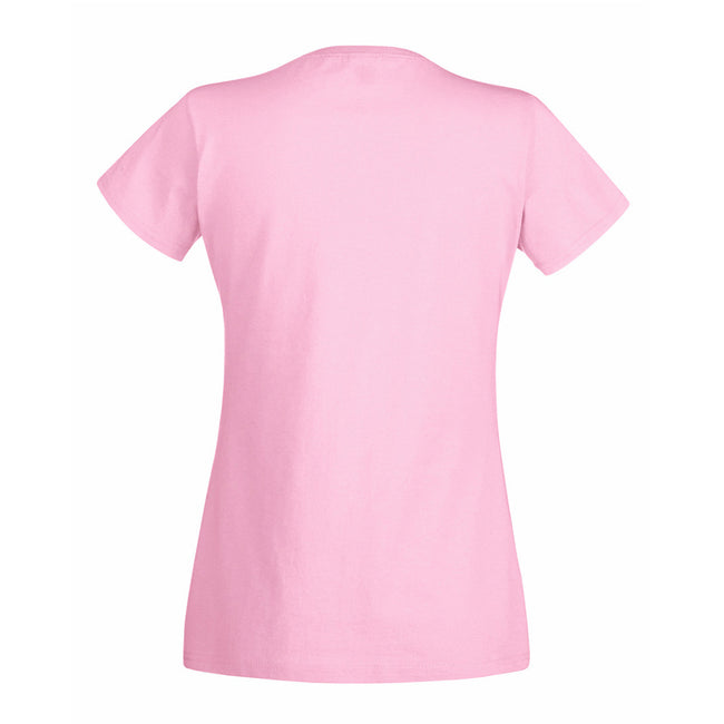 Light Pink - Back - Fruit Of The Loom Ladies Lady-Fit Valueweight V-Neck Short Sleeve T-Shirt