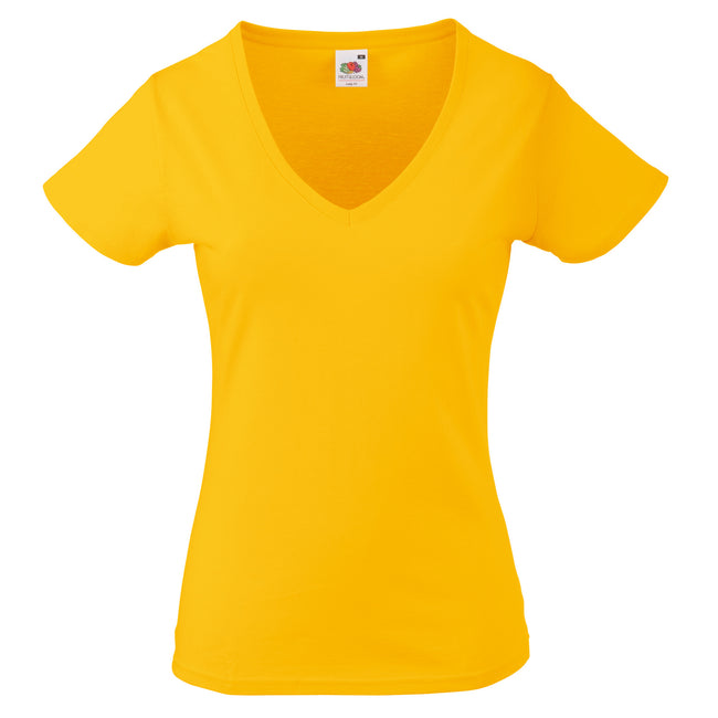 Sunflower - Front - Fruit Of The Loom Ladies Lady-Fit Valueweight V-Neck Short Sleeve T-Shirt