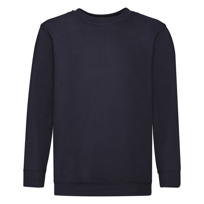 Deep Navy - Front - Fruit Of The Loom Childrens Unisex Set In Sleeve Sweatshirt