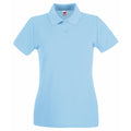 Purple - Front - Fruit Of The Loom Ladies Lady-Fit Premium Short Sleeve Polo Shirt
