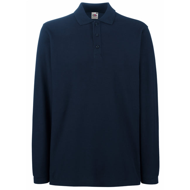 Deep Navy - Front - Fruit Of The Loom Mens Premium Long Sleeve Polo Shirt
