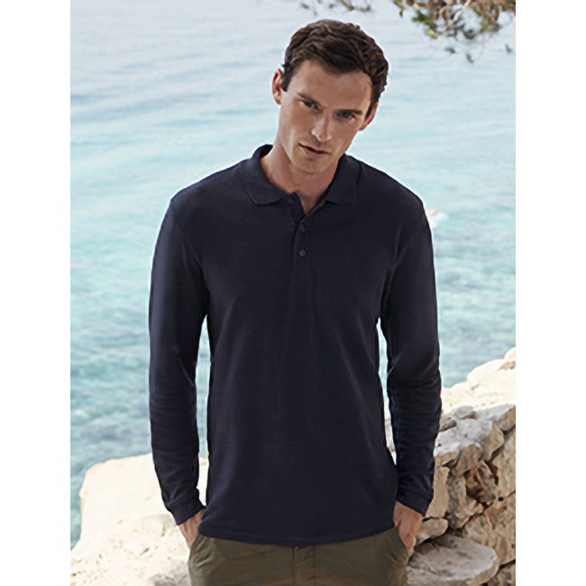 Deep Navy - Side - Fruit Of The Loom Mens Premium Long Sleeve Polo Shirt