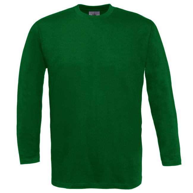 Bottle Green - Front - B&C Mens Exact 150 LSL Crew Neck Long Sleeve T-Shirt