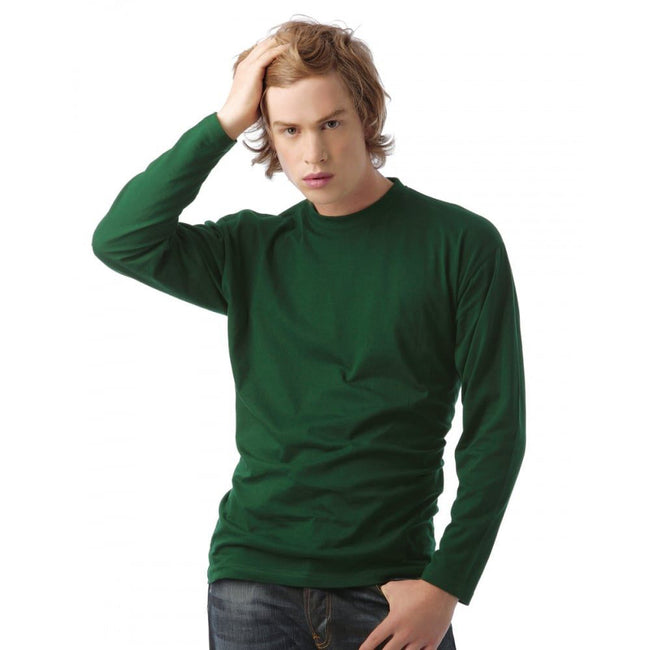 Bottle Green - Back - B&C Mens Exact 150 LSL Crew Neck Long Sleeve T-Shirt